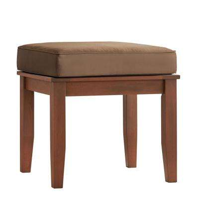 Verdon Gorge Brown Rectangle Oiled Wood Outdoor End Table with Brown Cushion