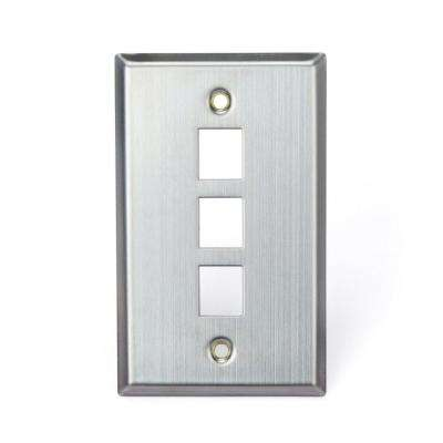 1-Gang QuickPort Standard Size 3-Port Wallplate, Stainless Steel