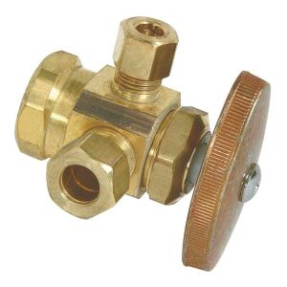 Brasscraft 1/2 inch FIP Inlet x 3/8 inch O.D. Compression x 1/4 inch O.D. Compression Dual Outlet Multi-Turn Valve by BrassCraft