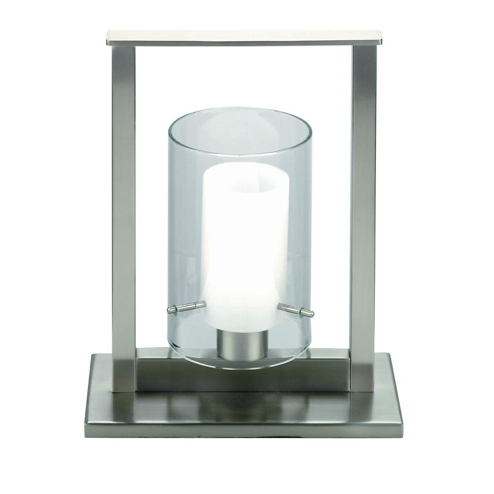Illumine 12 in. Steel Table Lamp with Frost Glass Shade