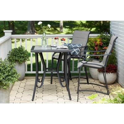 Crestridge 3-Piece Steel Padded Sling Outdoor Patio Balcony Height Bistro Set in Putty Taupe
