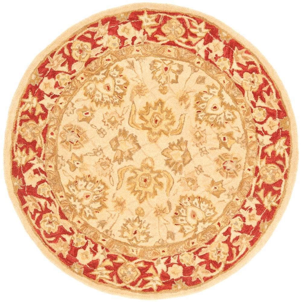 Anatolia Ivory/Red 4 ft. x 4 ft. Round Area Rug
