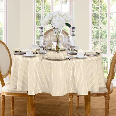 70 in. Round Ivory Elrene Denley Stripe Damask Fabric Tablecloth