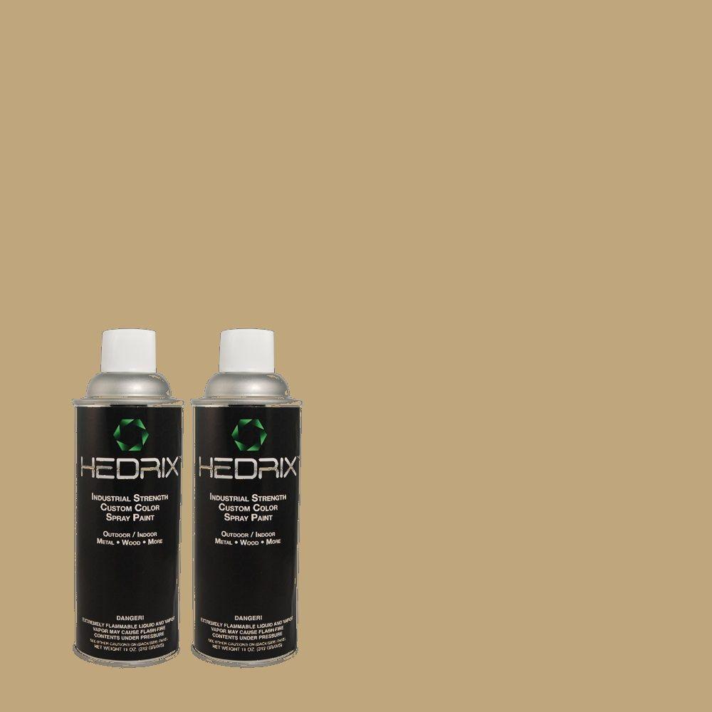 Hedrix 11 oz. Match of PPU8-7 Chamois Tan Flat Custom Spray Paint (2-Pack)