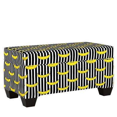 Banana Stripe Black Storage Bench
