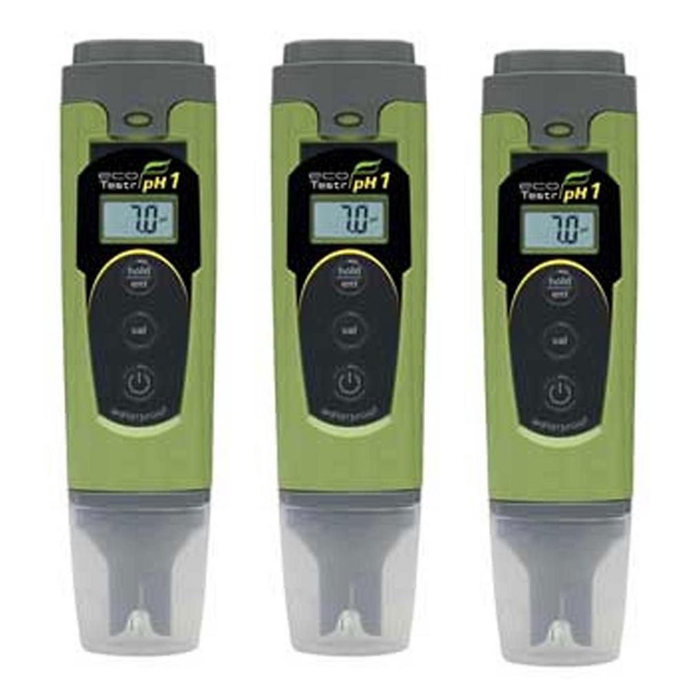 EcoTestr Plastic Digital Waterproof pH Tester Meter Pen (3-Pack)