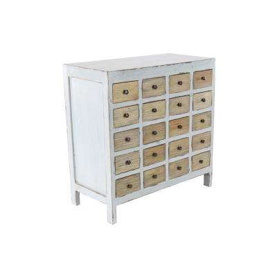 20-Drawer Distressed White Wooden Chest