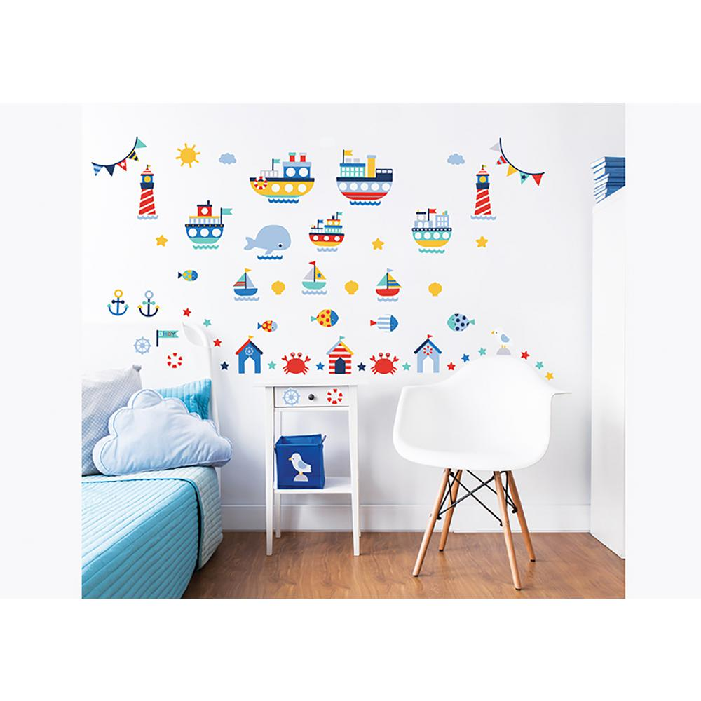 walltastic blue nautical wall stickers wt44845 the home depot. Black Bedroom Furniture Sets. Home Design Ideas