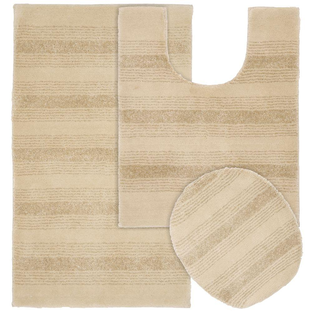 Garland Rug Essence Linen 21 In X 34 In Washable Bathroom 3 Piece Rug Set Enc 3pc 05 The