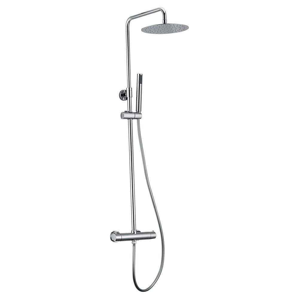 Jade Bath Pippa Thermostatic Shower System with Shower Head and Hand Shower in Polished Chrome