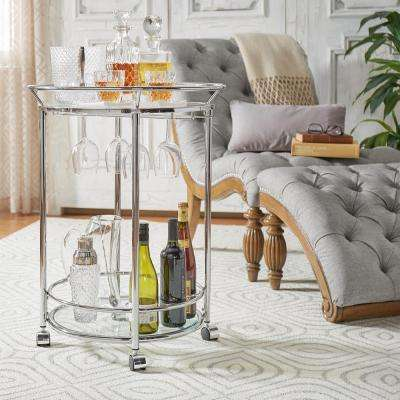 Alyce Chrome Bar Cart with Wine Glass Storage