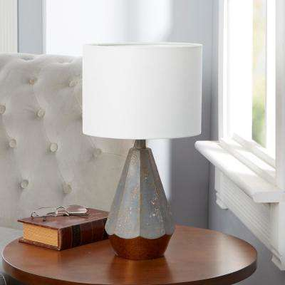 Rustic Prism 18.5 in. Slate Gray Table Lamp with Linen Shade