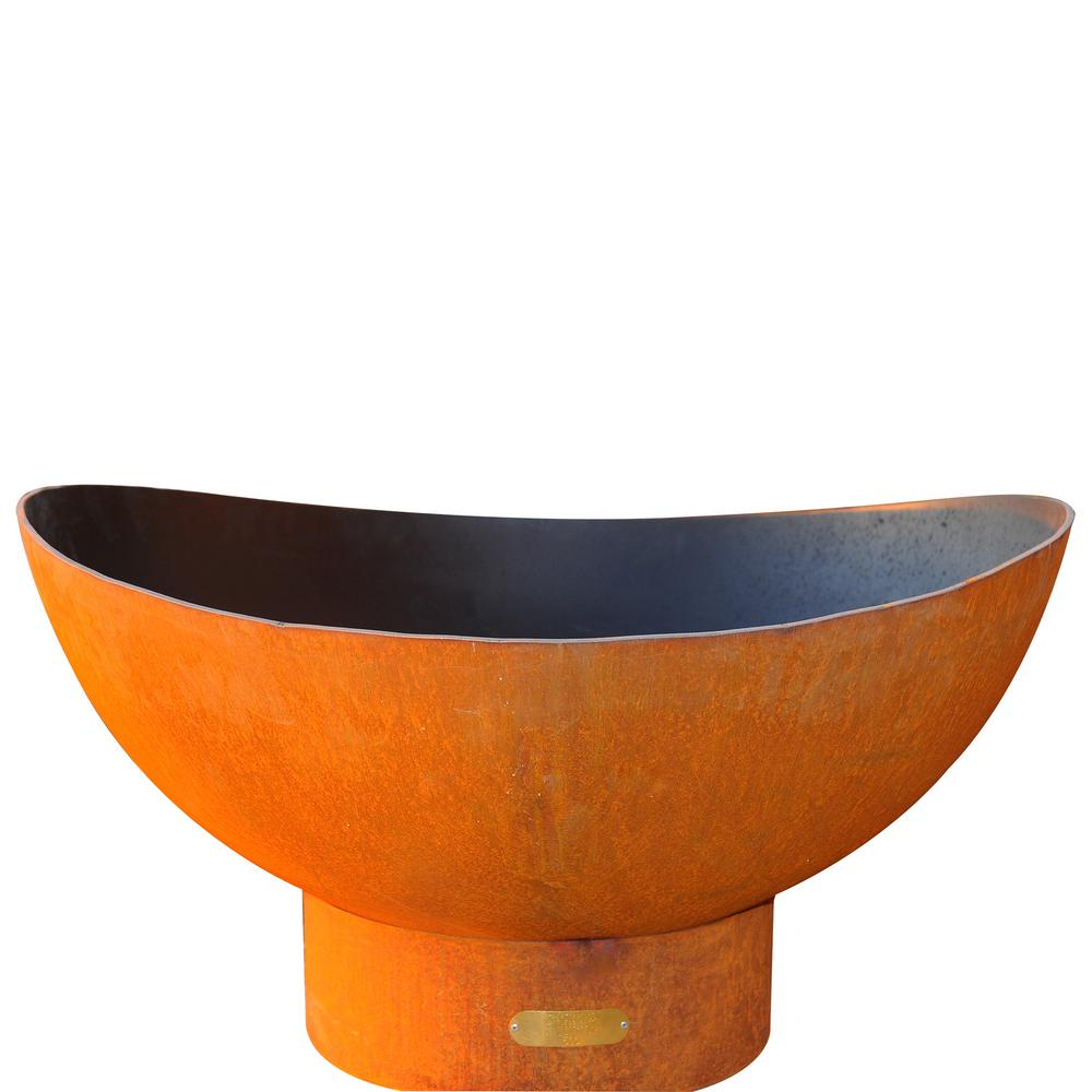Fire Pit Art Scallop 36 in. Carbon Steel Fire Pit in Iron Oxide with Brass Burner Lava Rock Flex Line Kit and Plate