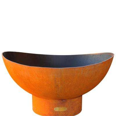 Scallop 36 in. Carbon Steel Fire Pit in Iron Oxide with Brass Burner Lava Rock Flex Line Kit and Plate