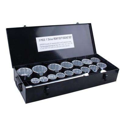 1 in. Drive Heavy-Duty Socket Set with Steel Case (21-Piece)