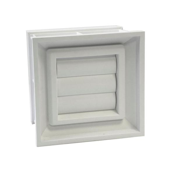 7.75 in. x 7.75 in. Convertible Glass Block Dryer Vent in White for 3 in. and 4 in. Glass Block Applications