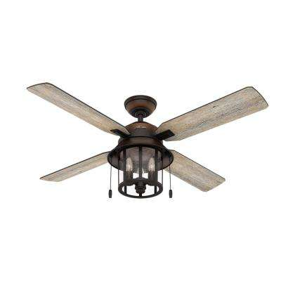Copperhill 52 in. LED Indoor/Outdoor Brittany Bronze Ceiling Fan with Light Kit