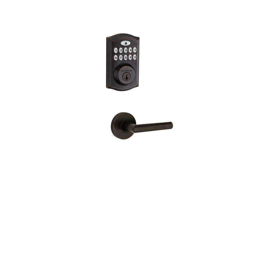 SmartCode Venetian Bronze Single Cylinder Electronic Deadbolt featuring SmartKey Security, Milan Hall/Closet Lever