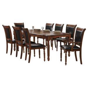 Indoor Black And Brown Traditional 9 Piece Dining Set With A Solid Rectangular Table