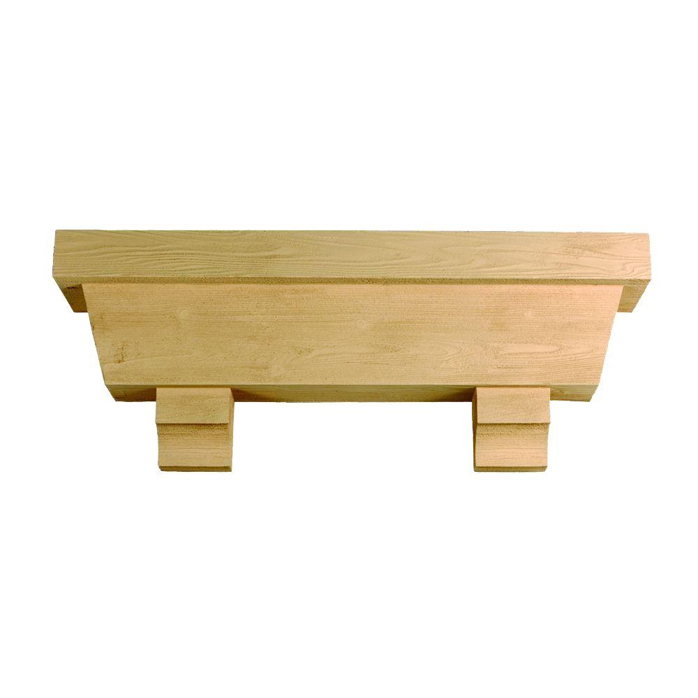 Fypon 122 in. x 18 in. x 10 in. Tapered Pot Shelf with Wood Grain Texture Block-DISCONTINUED
