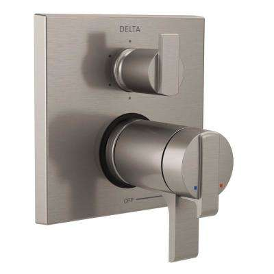 2-Handle Wall-Mount Valve Trim Kit with 6-Setting Integrated Diverter in Stainless (Valve Not Included)