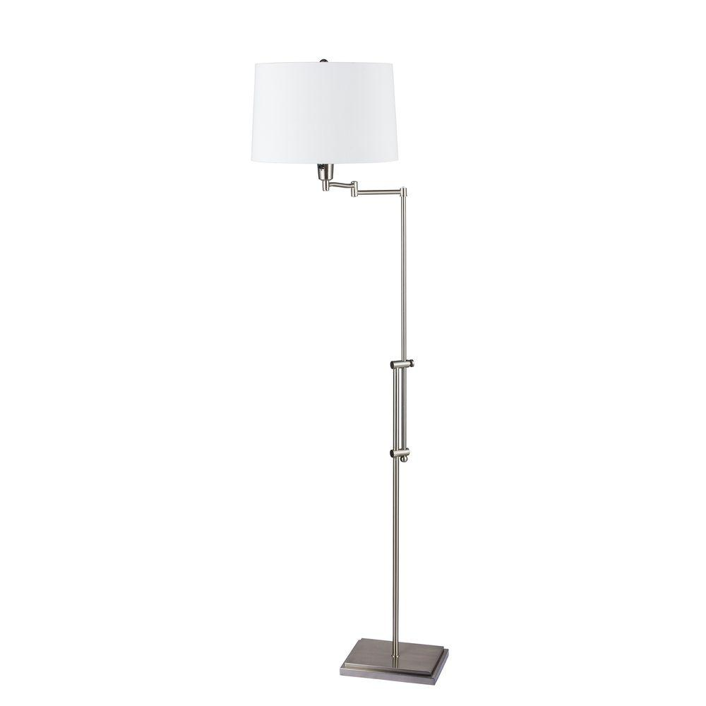 Fangio Lighting 45.25 in. to 55.5 in. Brushed Steel Swing Arm Floor Lamp with Square Base