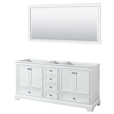 Deborah 71 in. Double Bathroom Vanity Cabinet Only with 70 in. Mirror in White