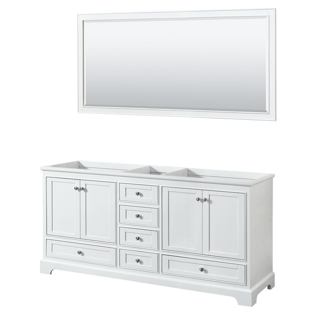 Deborah 71 in. Double Bathroom Vanity Cabinet Only with 70 in. Mirror in White
