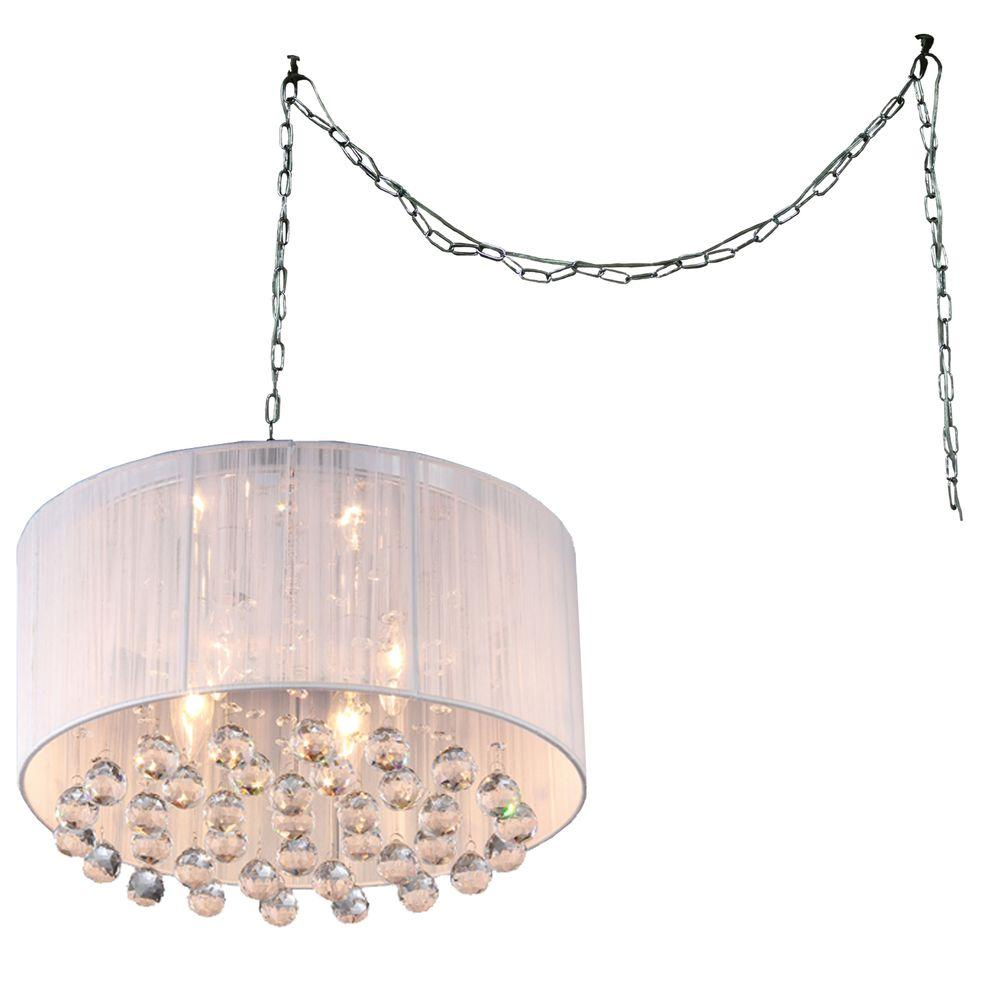 Mineya 5 light chrome indoor white fabric 17 in crystal swag chandelier with shade