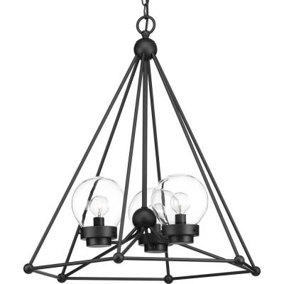Dsi Brooklyn Collection 3 Light Black Pendant With Clear Glass Shade