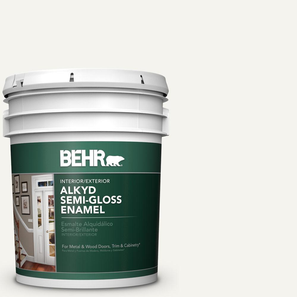 5 gal. #75 Polar Bear Semi-Gloss Enamel Alkyd Interior/Exterior Paint