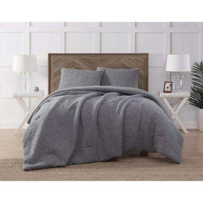 Ocean Washed Cotton Quilted Top Gray King Comforter Set