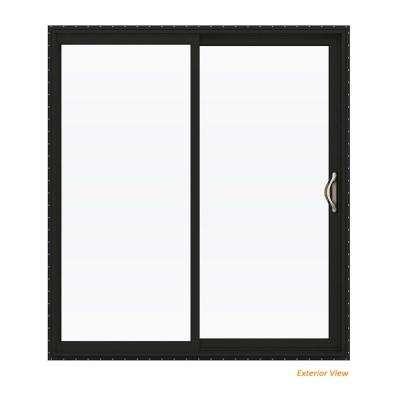 72 in. x 80 in. V-2500 Bronze Painted Vinyl Right-Hand Full Lite Sliding Patio Door w/White Interior