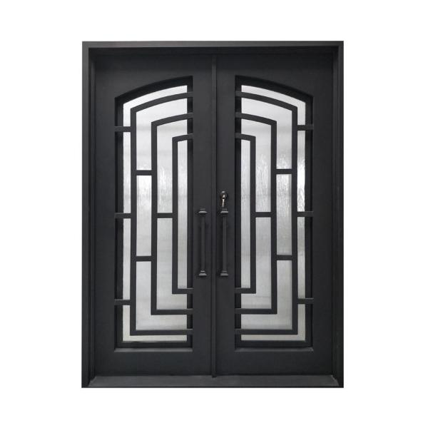 72 in. x 96 in. Matte Black Right-Hand Inswing with 3/4 Lite Clear Double-Glazed Glass Iron Prehung Front Door
