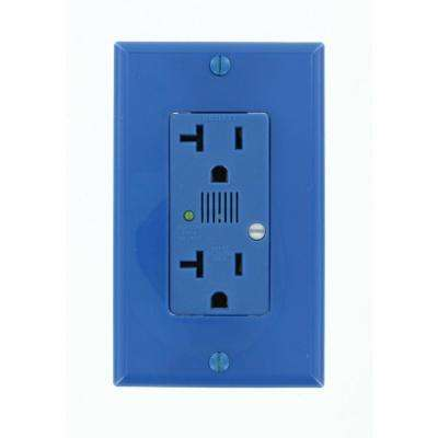 Decora Plus 20 Amp Industrial Grade Self Grounding Duplex Surge Outlet with Audible Alarm, Blue