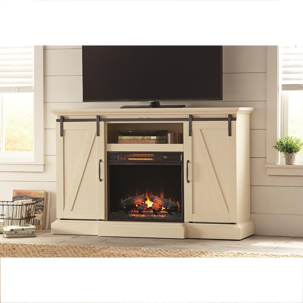 Add ambiance and warmth to your home with Home Decorators Collection Chestnut Hill Media Console Electric Fireplace with Sliding Barn Door in White.