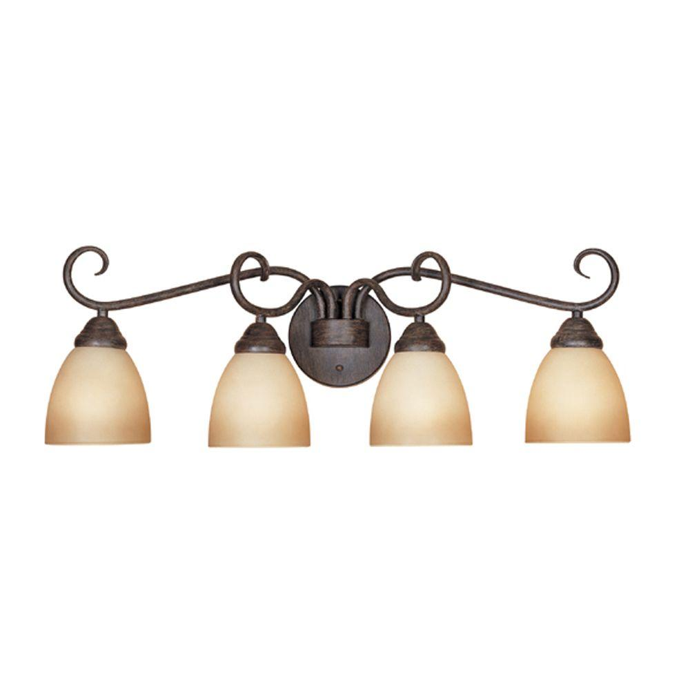 Designers Fountain Belle Vista Collection 4-Light Warm Mahogany Wall Mount Vanity Light