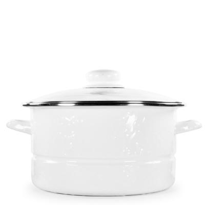 Solid White 6 qt. Enamelware Stock Pot with Lid