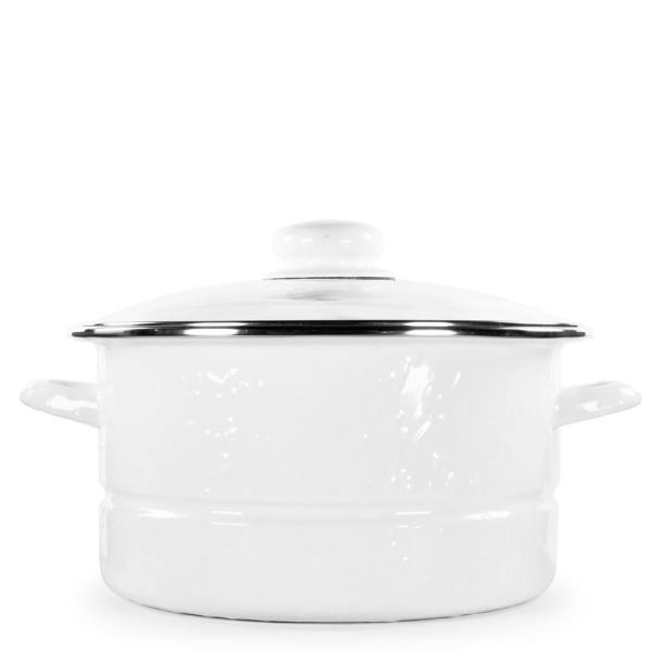 Golden Rabbit Solid White 6 qt. Enamelware Stock Pot with Lid