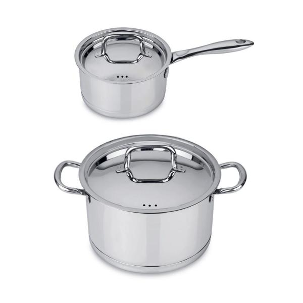 BergHOFF CollectNCook 4-Piece 18/10 Stainless Steel Cookware Set with Lids