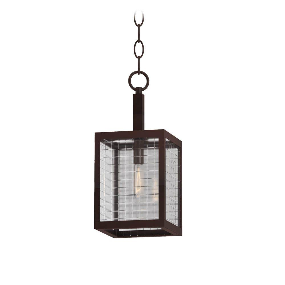 1-Light Oil-Rubbed Bronze Mini Pendant with Etched Clear Glass Shade