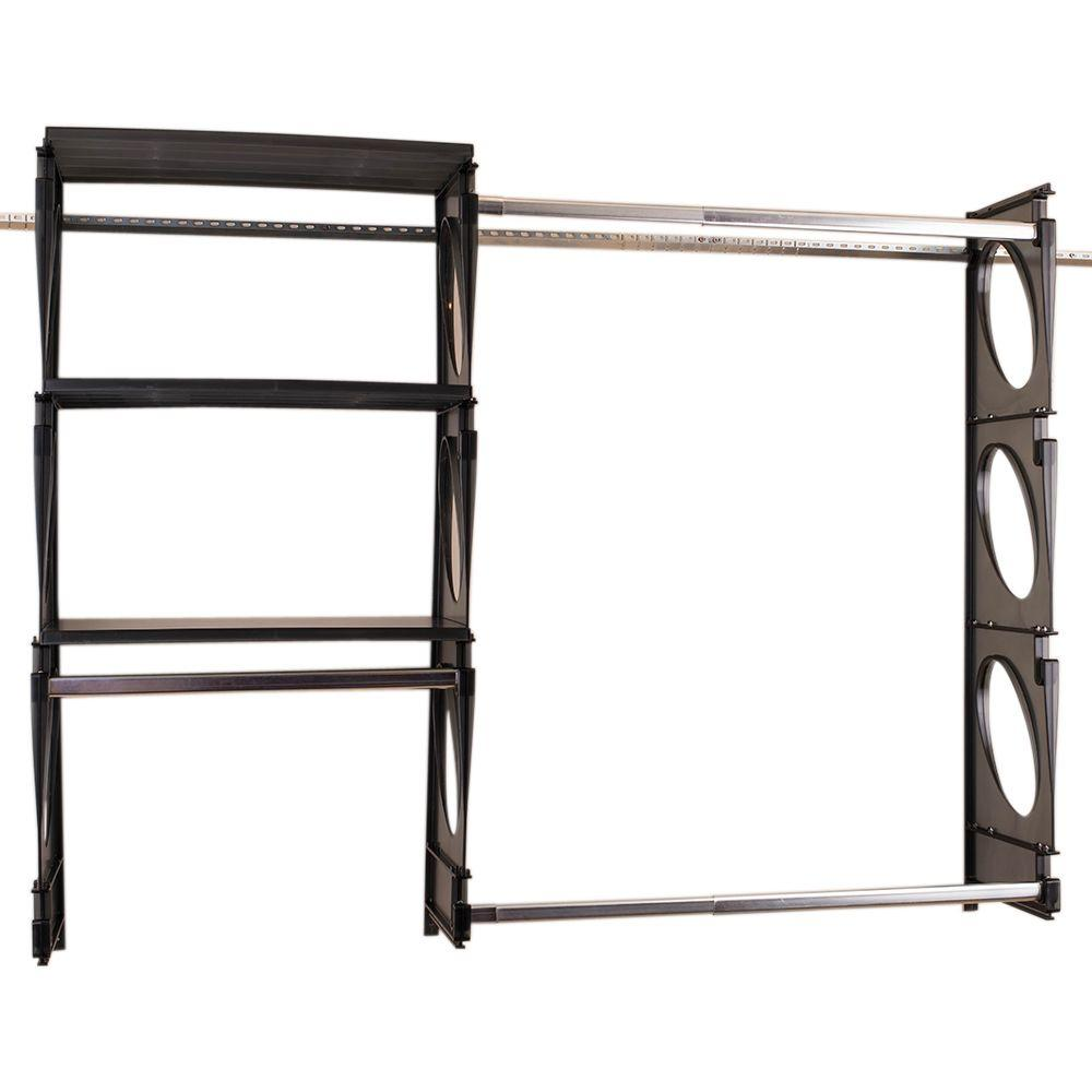Urban Intermediate 4 ft. to 5 ft. Black Closet Shelving Kit