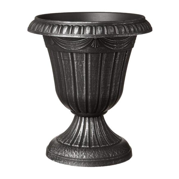Traditional 13 in. x 15 in. Silver Plastic Urn