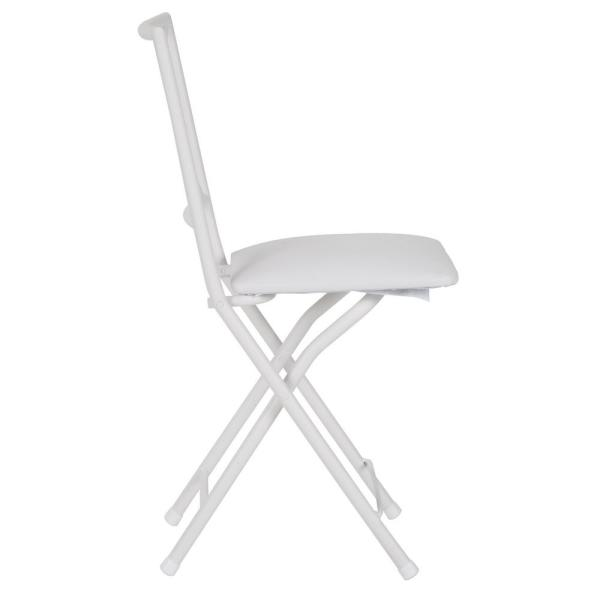 X Back White Metal Folding Dining Chair
