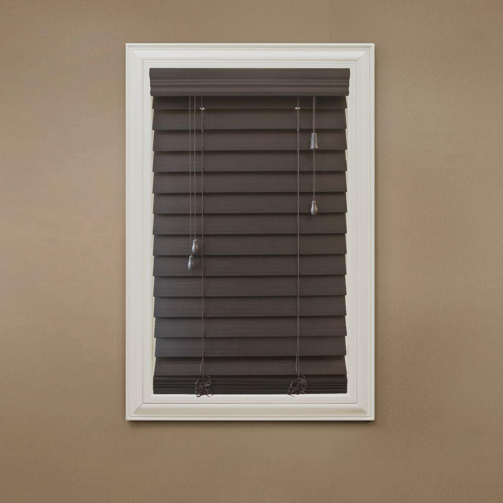 Home Decorators Collection Espresso 2-1/2 in. Premium Faux Wood Blind - 61 in. W x 64 in. L (Actual Size 60.5 in. W x 64 in. L )
