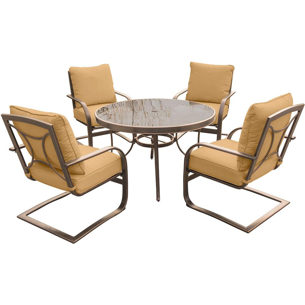 5-Piece Outdoor Dining Set with Round Glass-Top Table and Aluminum Spring