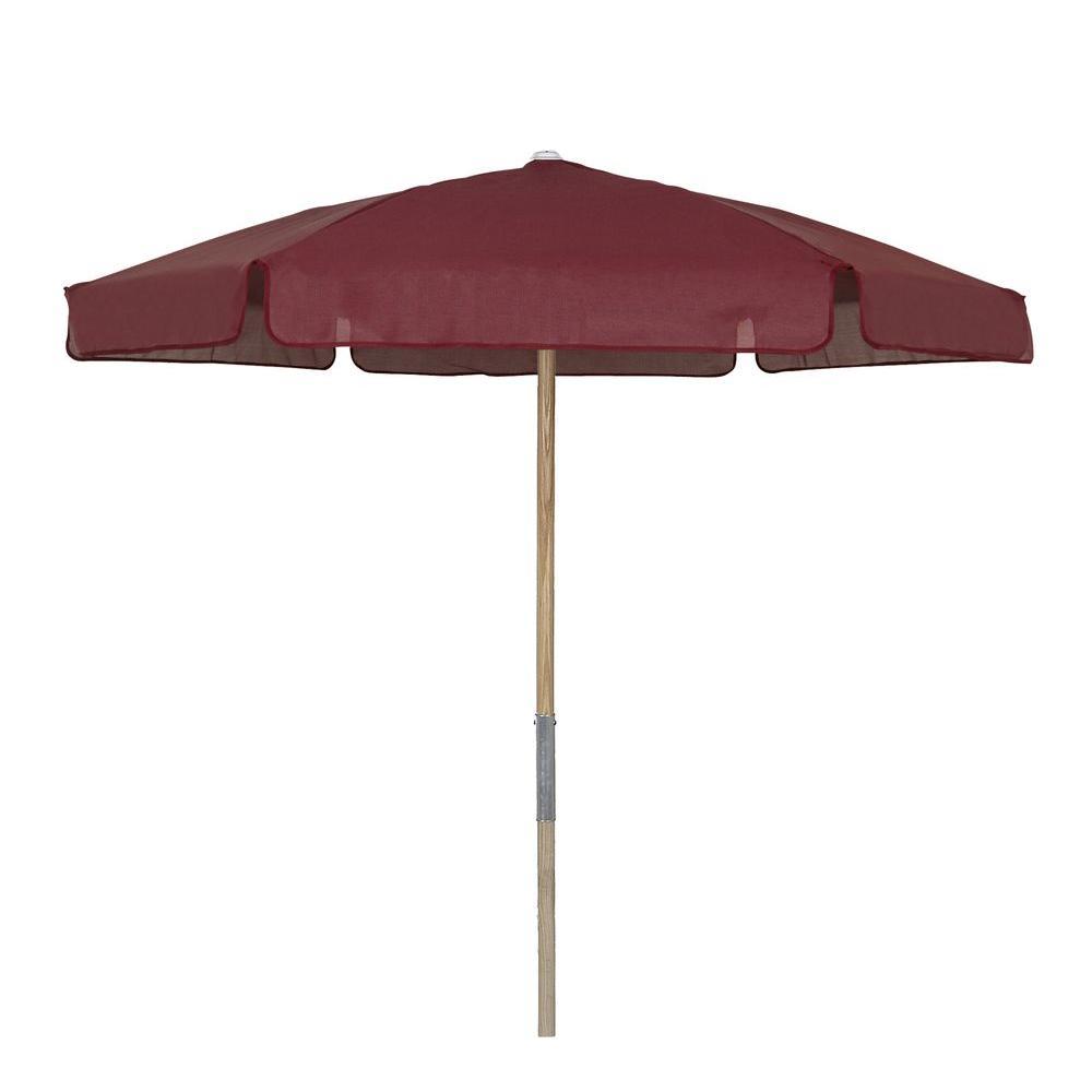 7 5 Ft Wood Beach Patio Umbrella With Burgundy Vinyl Coated Weave