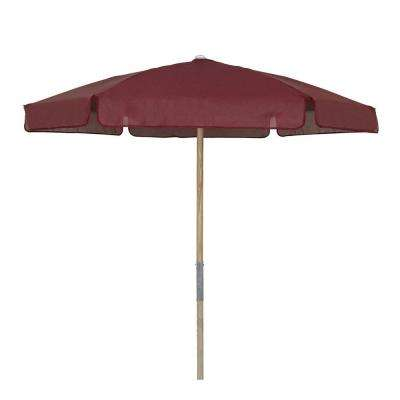 7.5 ft. Wood Beach Patio Umbrella with Burgundy Vinyl Coated Weave