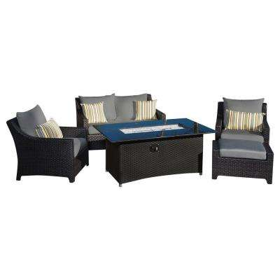 Deco 5-Piece Love and Club Patio Fire Pit Seating Set with Charcoal Grey Cushions