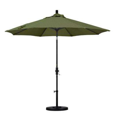 9 ft. Aluminum Collar Tilt Patio Umbrella in Terrace Fern Olefin